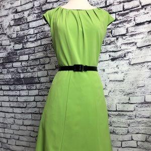 Emma & Michelle Like Green Belted Aline Dress